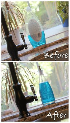 Use a olive oil bottle for dish soap (the link includes a tutorial on how to etch the label!)   So much cuter than the ugly plastic soap bottle