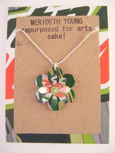 Upcycled Mountain Dew Necklace handmade by Merideth Young. American Made. 2013 Buyers Market of American Craft.