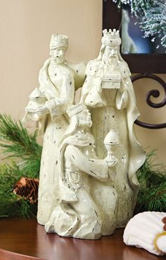 Three Wisemen Ivory Glittered Religious Holiday Statue