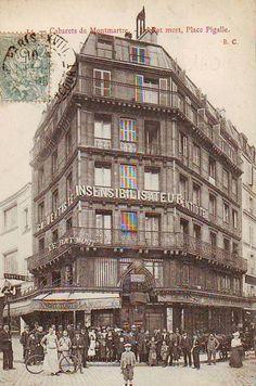 """Paris """"Belle Époque"""" postcard ~ """"Cabarets de Montmartre ~ le Rat~Mort ~ Place Pigalle"""" ~"""