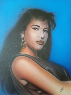 Latest from Serratos Art - Latina Singer Selena Quintanilla airbrushed portrait on canvas panel 12in x 16in