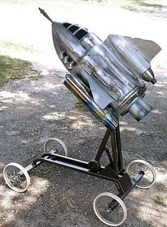 Vintage Rocket Ship BBQ...okay, it is techinically an appliance, not furniture, but awesome work by J. Bradley on the Miller Welder website...