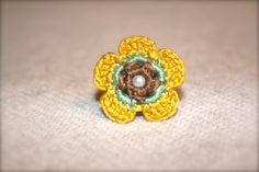 Crochet Flower Ring Yellow Teal Beige by CatWomanCrafts on Etsy, $6.00