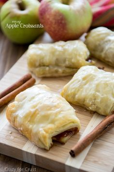 Easy Apple Croissants made with puff pastry and apple cider!