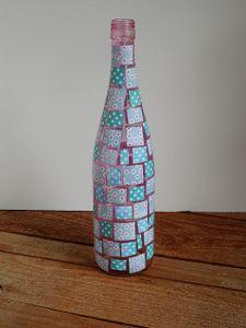 Decoupaged Mosaic Wine Bottle from @Amanda Snelson Formaro