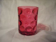 Cranberry Thumbprint Water Glass