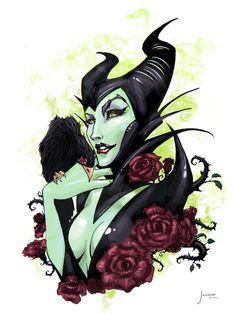 Maleficent tattoo ideas, sleeping beauty, disney villian tattoos, art prints, disney art, sleep beauti, evil, villain, malefic