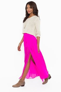 hot pink maxi with high slit