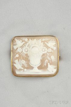 Antique Carved Shell Cameo Brooch Depicting An Urn Of Flowers With Doves, Mounted In 14k Gold
