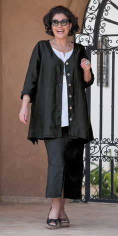 Box 2 black linen v neck jacket, vest and skirt