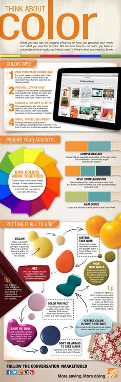 This infographic makes color theory easy to understand and apply in home decorating.