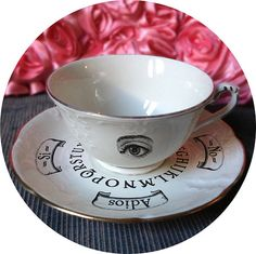 Ouija Altered Antique Porcelain cup.