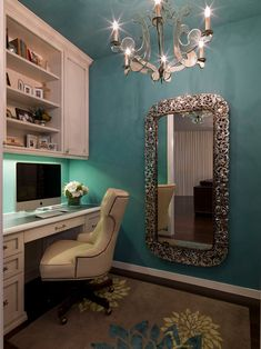 mirror, wall colors, office spaces, office designs, home office design, blue walls, contemporary homes, paint colors, home offices
