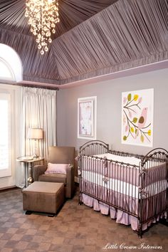 Laila Ali's gorgeous nursery with fabric wrapped ceiling