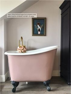 Freestanding bath at half the size and weight, what a great idea for a small space.  Love the color!