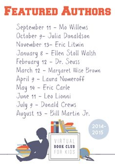 Follow along with the Virtual Book Club for Kids featured Authors and Books.  Top kid bloggers will be sharing book related activities each month.  Come join the fun!