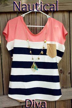 "DIY Tutorial: Clothes / ""Nautical Diva"" Color Block Shirt Tutorial - Bead&Cord"