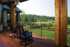 Rear porch overlooking the golf course, from the Clubwell Manor Plan 5037 http://www.dongardner.com/plan_details.aspx?pid=4223 The Clubwell Manor was created and built in a private resort community, The Cliffs at Keowee Springs, as the 2008 Golf dream house. #Home #Designs #Luxury #Porch