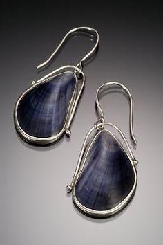 Maine mussel shell earrings, set in silver....