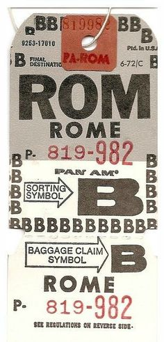 Pan Am baggage tag ~ Rome