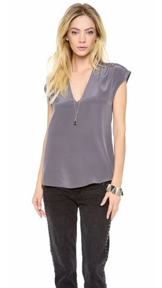 Rory Beca Valentine V Neck Shirred Top | selected by jamesdrygoods.com for the made in america: contemporary project | #madeinusa |