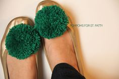 DIY Pompom Shoe Clip - Add a little green to your wardrobe! Great St. Patrick's Day craft. diy ideas, green shoes, pom poms, shoe clips, diy shoe, st patricks day, pom pom crafts, project gallery, kid crafts