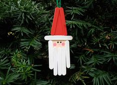 Craft Stick Santa Ornament