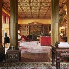 Downton Abbey and Highclere Castle interiors - library