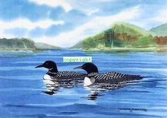 Loons Watercolor Print by CottageArtStudio on Etsy, $12.50