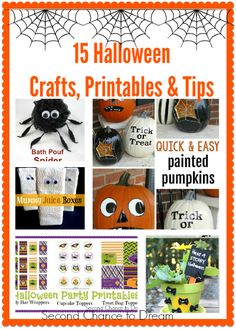 15 Halloween Crafts, Printables and Tips from the Bewtchin' Project Party.#halloween