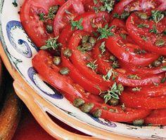 Tomato Salad with Shallot Vinaigrette, Capers, and Basil | Epicurious.com