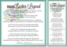 FREE Printable - M Easter Legend Poem.  So cute!!