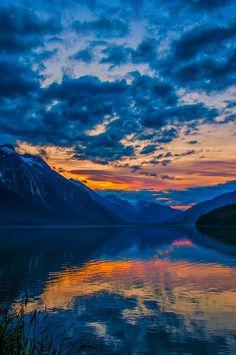 Sunset over Chilkoot lake just outside of Haines - Alaska, USA (by Jason Wolsky)