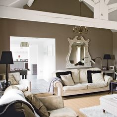Taupe wall color great for a living room...not too brown and not too gray... Wall Colors, Wall Colour, Modern Country, Antique Mirrors, Taup Wall, Bedroom Colors, Live Room, Country Living Rooms, White Furniture