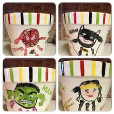 Super Hero flower pot. Each is made from a handprint! Batman, Spiderman, Wonder Woman and Hulk.