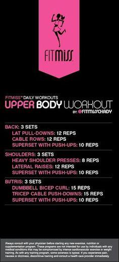 Upper body gym workout