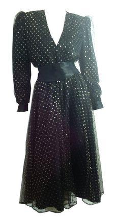 Dynasty Glamour Golden Polka Dot Black Mesh Dress circa 1980s Halston - Dorothea's Closet Vintage