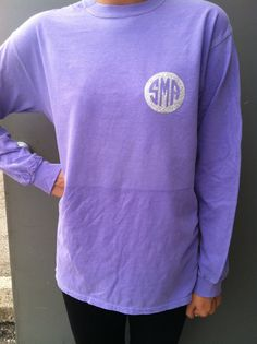 Comfort Colors long sleeve t with glittery monogram on Etsy, $22.00