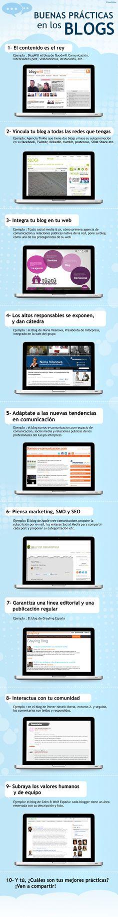 9 buenas prácticas para tu blog que debes saber. Infografía en español. #CommunityManager #RedesSociales #MarketingOnline #InternetMarketing #Infografia #CapacitaciónOnline