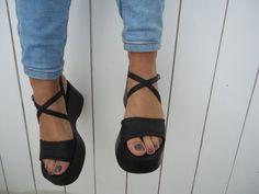 Vintage  90's Platform Shoes Chunky Black Sandals Size 7.5 on Etsy, Sold