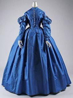 ~c.1867 Blue Silk Dress at Met Museum~