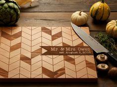 Personalized chevron wood cutting board