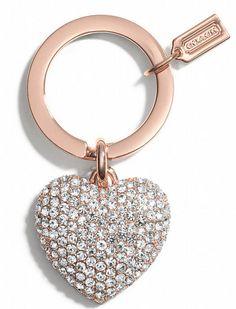 rhineston, gift, heart keychain, coach keychain, coach heart