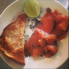 A simple #breakfast. Cured salmon on toast with lime. #cookingwithzac