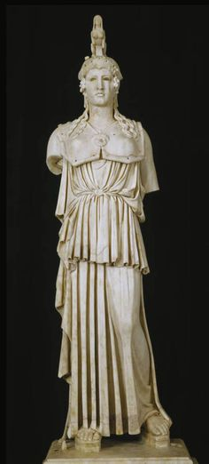 "Athena Parthnos, Roman copy of a Greek original, Ca. 130-150 CE. ""A miniature Roman reproduction of the famous statue that Phidias made for the Parthenon in Athens between 447 annd 438 B.C. The original was about eleven meters in height and was of gold and ivory. The finest copies, of which the present is an outstanding example, are small works with certain differences in proportion and details."""