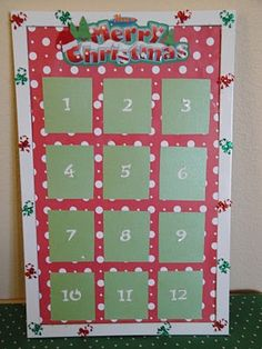 12 days of Christmas bulletin board idea.  A different activity for each day.