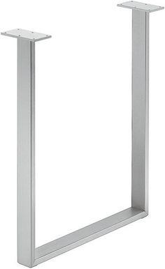 U-Shaped Silver Finish Metal/Steel Table/Furniture Base/Office Desk 51031 | Metal Legs | Figured Black Walnut Lumber, Live Edge Furniture, S...