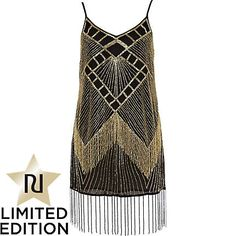 Great Gatsby Style - black embellished fringe tunic dress - tunics - tops - women - River Island
