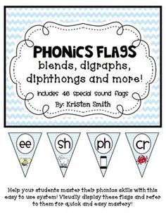 Phonics Flags- blends, digraphs, diphthongs and more! A digraph is a single sound, or phoneme, which is represented by two letters,  In digraphs, consonants join together to form a kind of consonant team, which makes a special sound. For instance, p and h combine to form ph, which makes the /f/ sound as in phonemic. If u want further instructions for blends or digraphs, please leave me a comment.