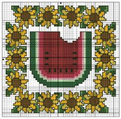 Watermelon Sunflowers Trivet Set chart from DMC. Designed by Lois Winston